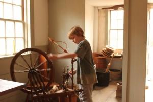 Olie at spinning wheel