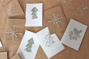 white and silver cards