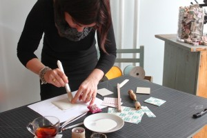 angela liguori making an accordion book