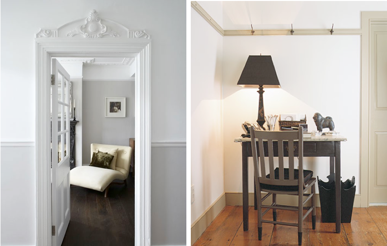 white walls, grey trim