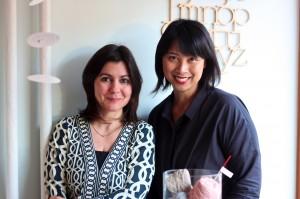 Maybelle Imasa-Stukuls calligraphy class, Angela and Maybelle