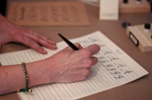 Maybelle Imasa-Stukuls calligraphy class, practicing