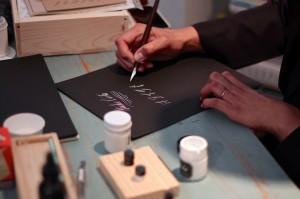 Maybelle Imasa-Stukuls calligraphy class, white on black demo