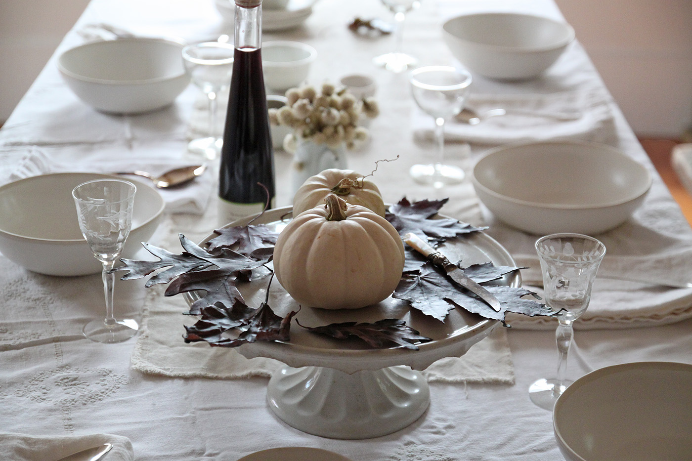 Halloween table with Black Leaves, leaf centerpiece, by Justine Hand for Remodelista