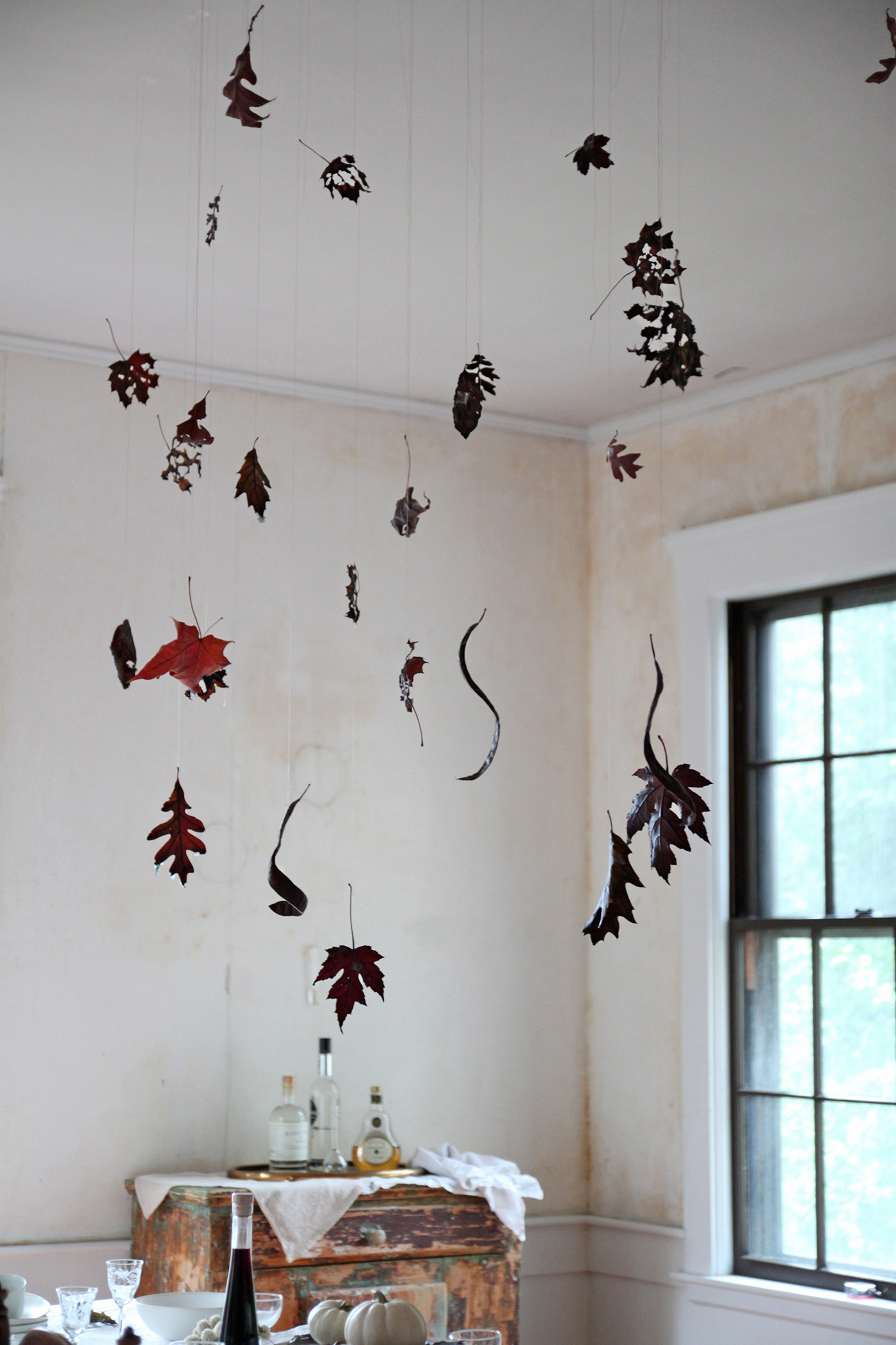 Halloween table with Black Leaves, leaf detail 1, by Justine Hand for Remodelista