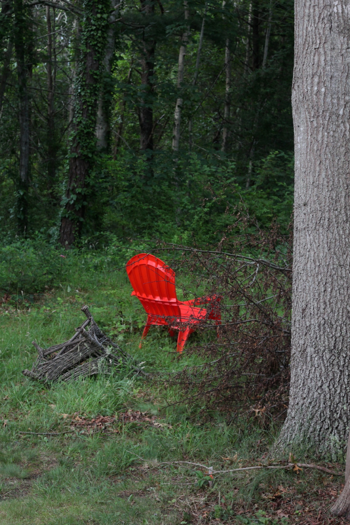 Marnie's Garden by Justine Hand, red chair