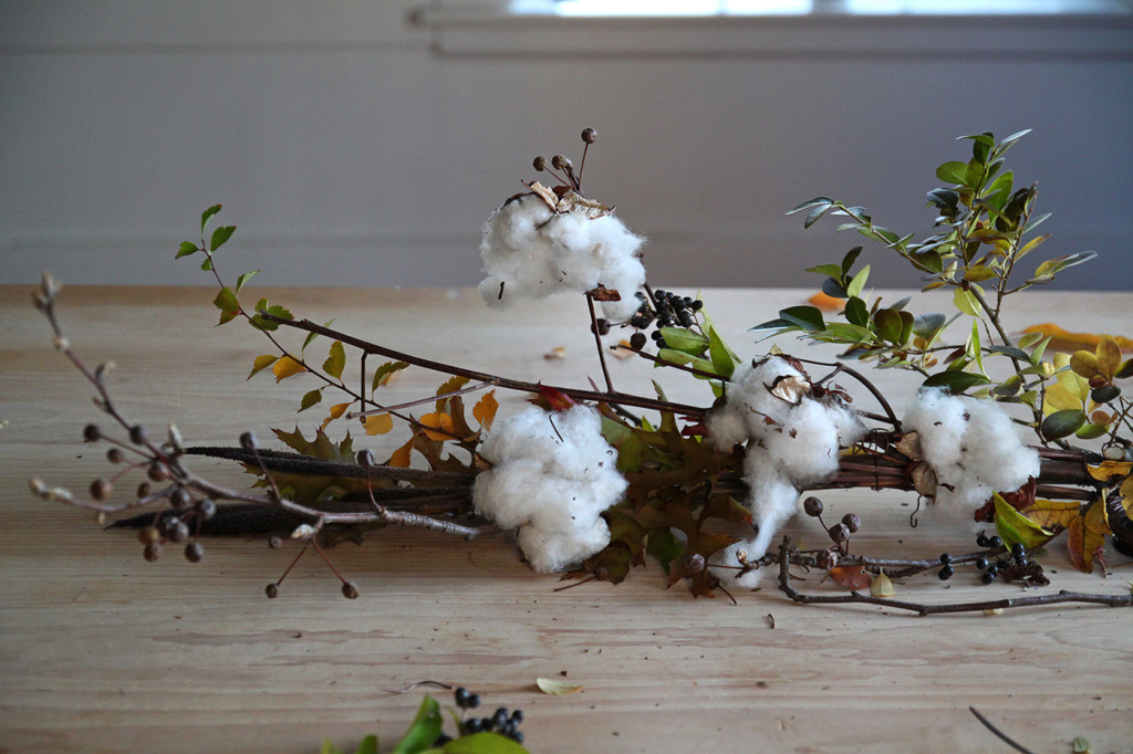 DIY Cotton Garland, building up the garland, by Justine Hand for Gardenista