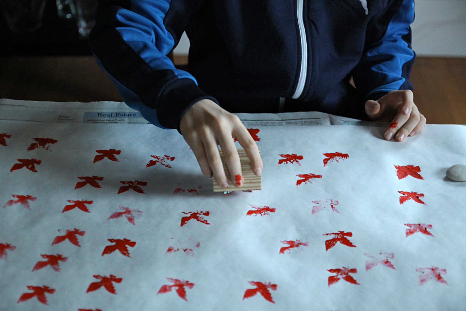 Annual DIY wrapping paper 2014 bird stamps