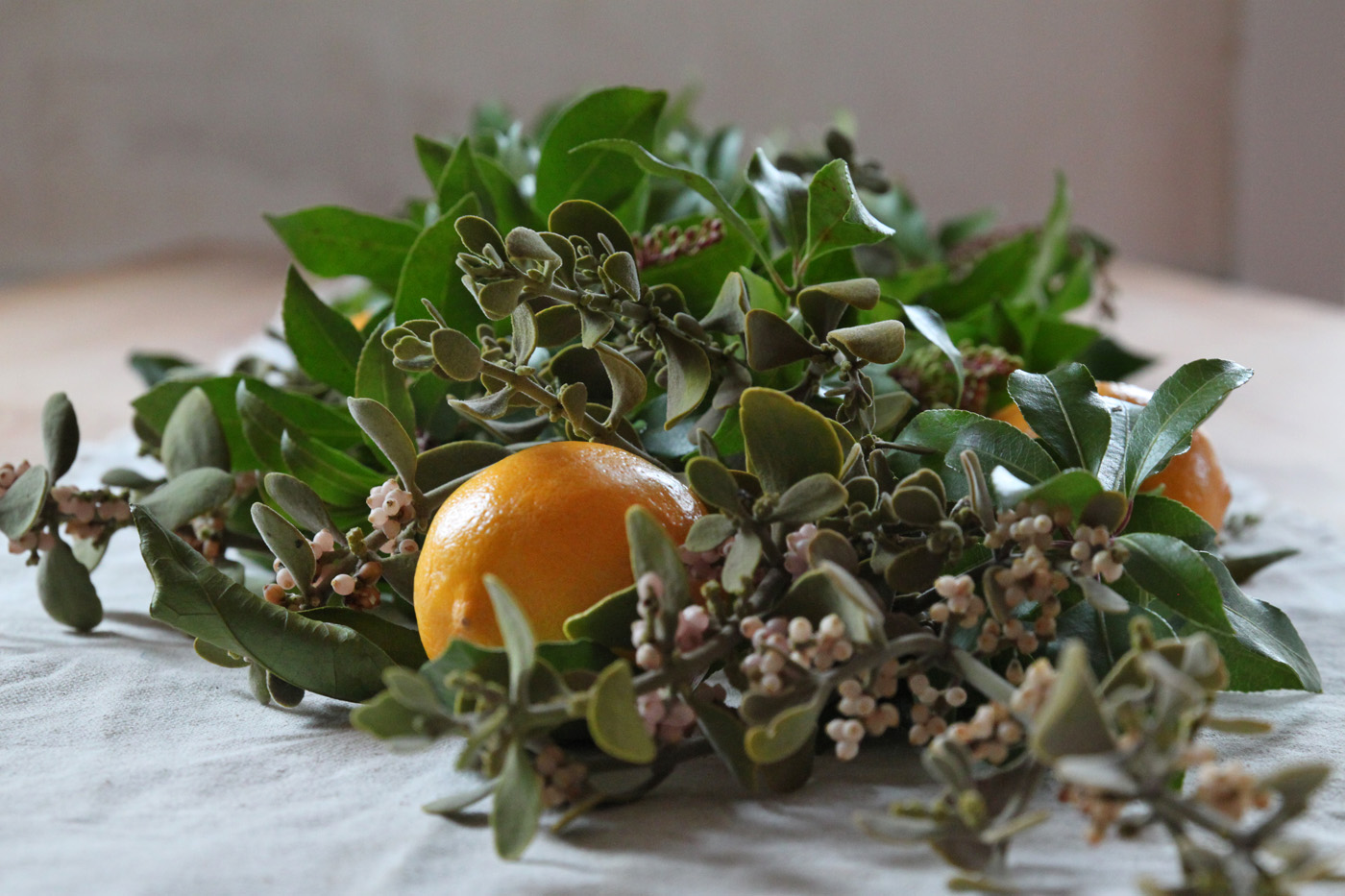 mistletoe and meyer lemon garland, finished detail 2, by Justine Hand for Remodelista