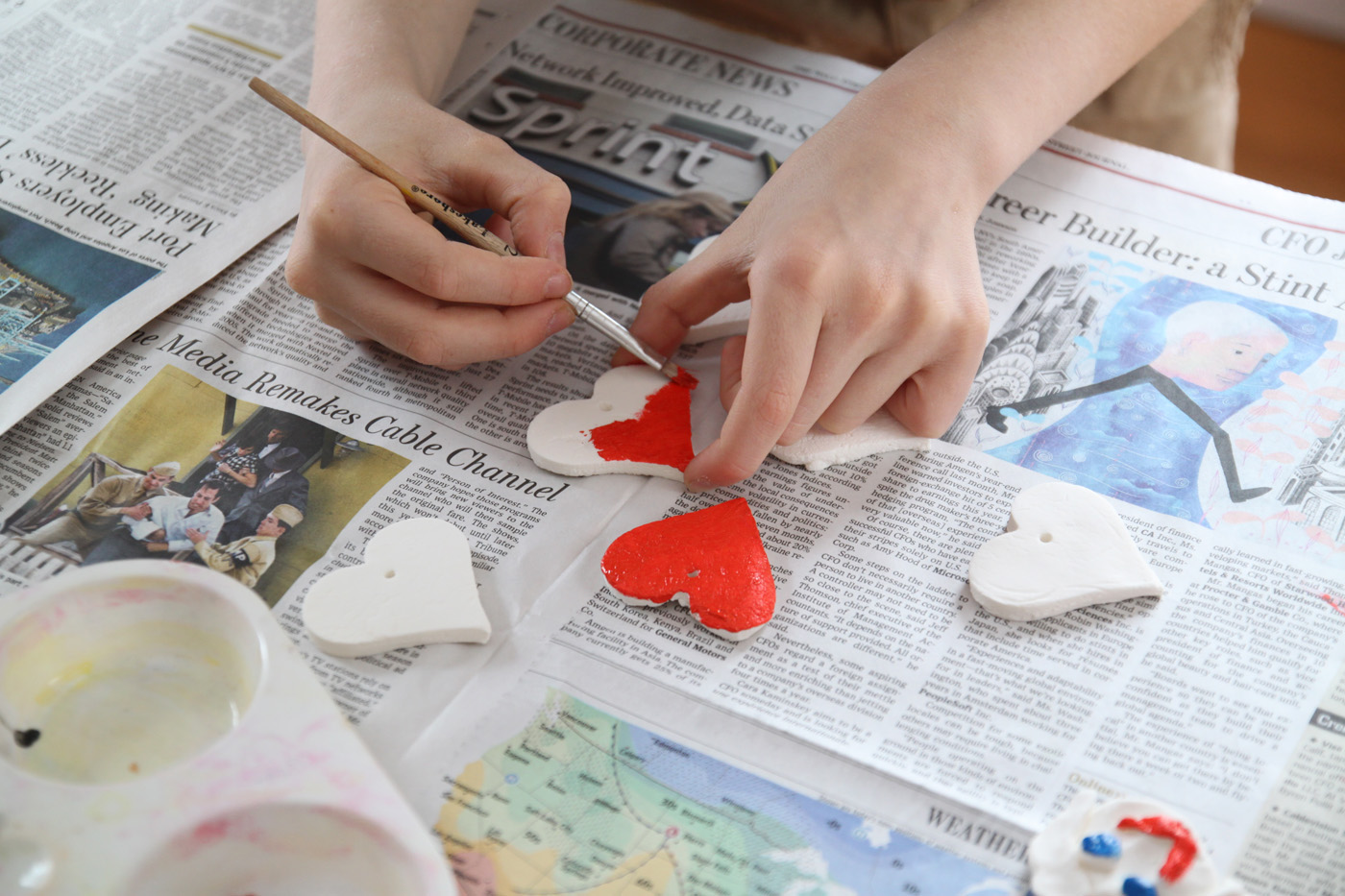 Olie painting hearts detail