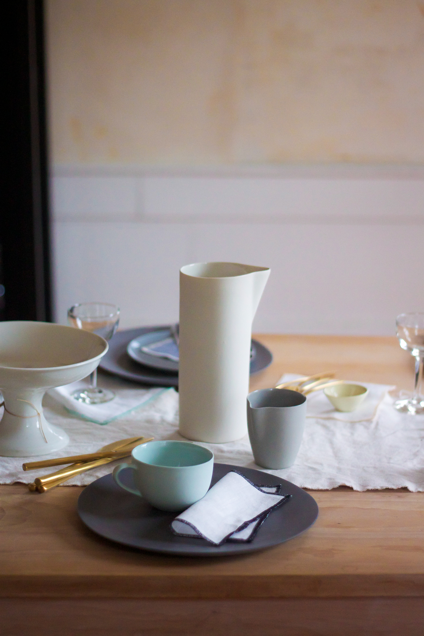 Mothers Day Table with Everyday Napkins, MUD carafe, by Justine Hand for Remodelista