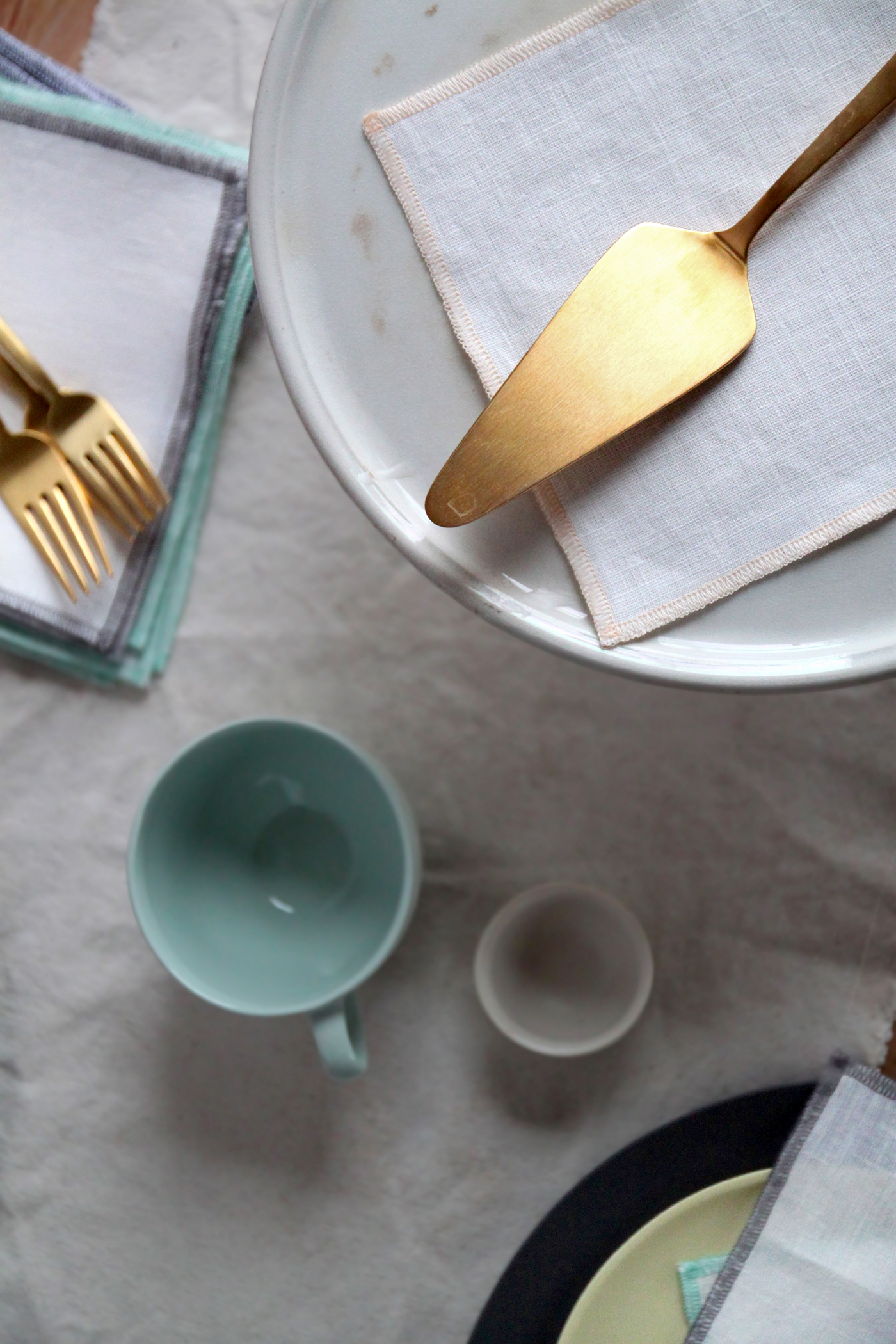 Mothers Day Table with The Everyday Napkin, gold server, by Justine Hand for Remodelista