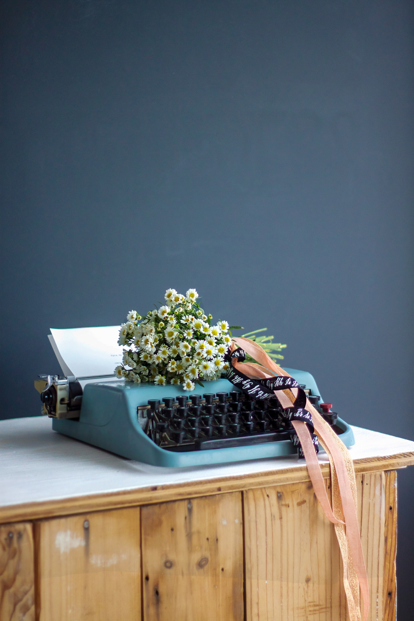 White aster bouquet with Studio Carta ribbon, typewriter, by Justine Hand_edited-1