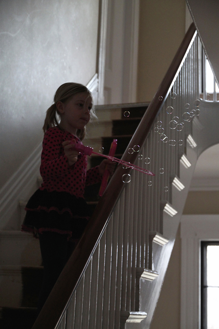 bubbles on the stairs